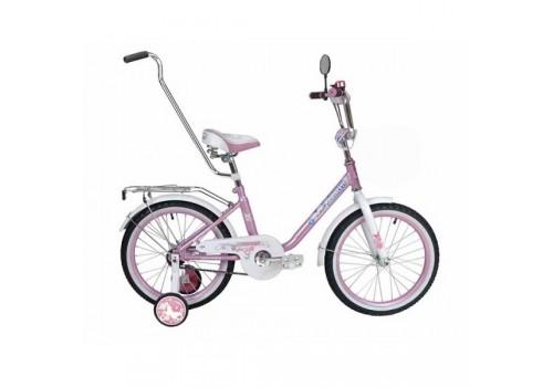 Велосипед 14 дюймов Black Agua Princess 1s розово-белый с ручкой KG140