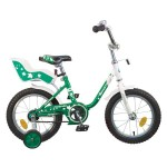 Велосипед 14 дюймов Новатрек UL зеленый, сидение для кукол
