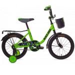 Велосипед 14 дюймов Black Aqua салатовый неон с корзиной DK1404