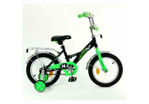 Велосипед 14 дюймов Новатрек STRIKE чёрный-зелёный