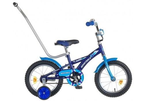 Велосипед 14 дюймов Новатрек DELFI, сине-голубой, управляющая ручка