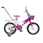 Велосипед 14 дюймов Black Aqua Sunshine 14 1s с ручкой малиновый светящиеся колеса