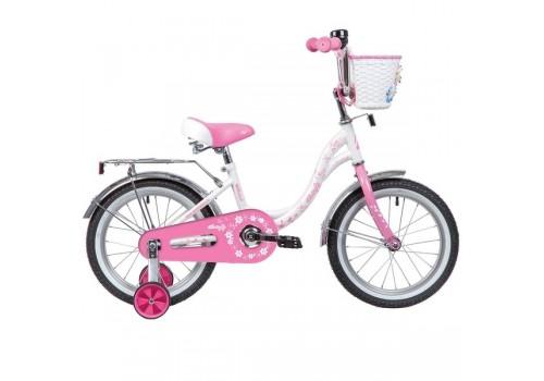 Велосипед 16 дюймов Новатрек Batterfly белый-розовый