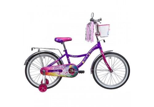 Детский велосипед 20 дюймов Novatrack LITTLE GIRLZZ фиолетовый