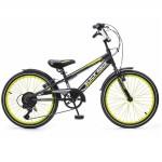 Велосипед 20 дюймов Black Agua Sport 6 скоростей чёрный-лимонный KG2023S