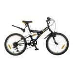 Велосипед 20 дюймов Новатрек DART черный 6 скоростей