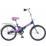 Велосипед 20 дюймов Новатрек FS20 синий-розовый складной