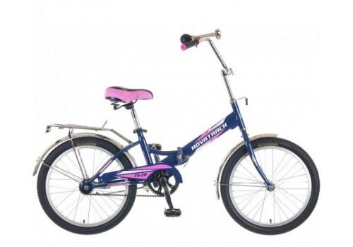 Детский подростковый велосипед 20 дюймов Novatrack FS20 синий-розовый складной