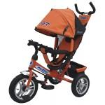 Велосипед трехколесный PILOT с ручкой, надувные колёса оранжевый PTA3O