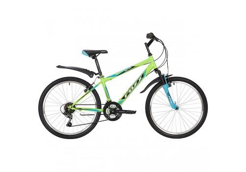 "Велосипед 24 дюйма Foxx Aztec рама 14"" TZ-500/POWER/MS-12 синий-зеленый"