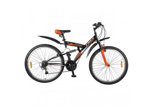 Велосипед 26 дюймов Foxx Attack 18 скоростей V-brake черно-оранжевый 124441