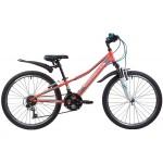 Велосипед 24 дюйма NOVATRACK  VALIANT коралловый, 18-скор, TY21/TS38/SG-6SI