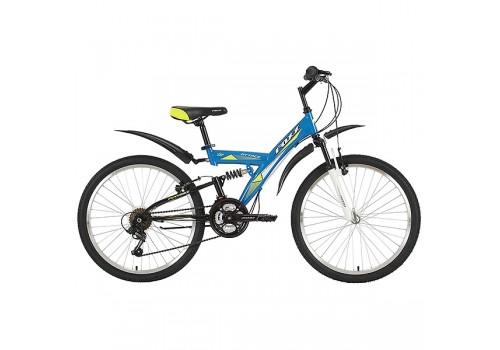 "Велосипед 24 дюйма Foxx Attack 14"", синий, TZ-500/POWER/MS-12 синий/желтый"