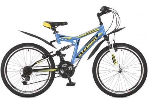 "Велосипед 24 д Stinger Highlander 100V 14"" синий TZ30/TY21/RS35 117390"