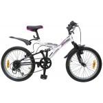 Велосипед 20 дюймов Новатрек DART черный/белый 6 скоростей